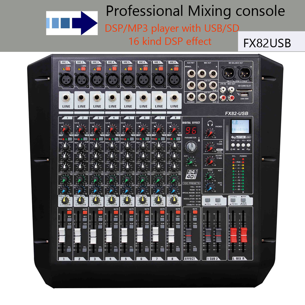 Console de mixage audio mélangeur avec processeur FX82-USB 8-channel audio mélangeurs montage en rack table de mixage pro dj équipements Dans amplificateur