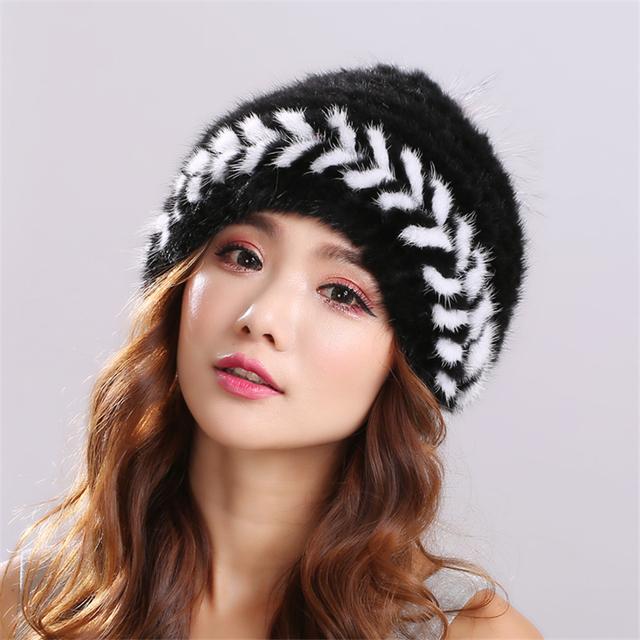 Natural de piel de Visón de Punto de Invierno sombrero de las mujeres Genuinas de Invierno Mujeres mujeres Headwear gorros gorros mujer invierno # H9018