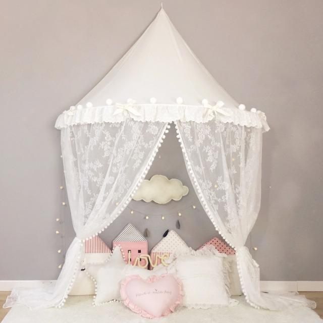 White Kids Bed Tent Princess Canopy Bed Curtains Round Dome Hanging Children Kids Indoor Outdoor Play & White Kids Bed Tent Princess Canopy Bed Curtains Round Dome ...