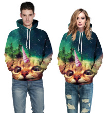 New fashion lovers loose hoodie sweater 3D Unicorn cat digital print  leisure overcoat size s to xxxl