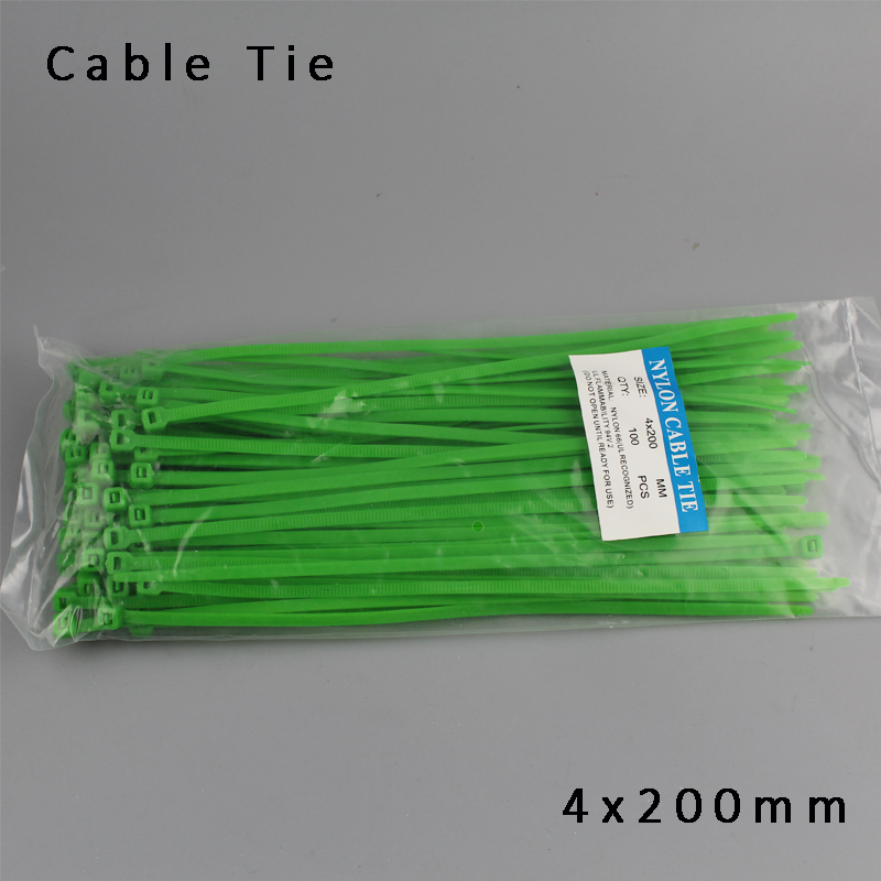 Beautiful Green Color Cable Ties Colorful 100pcs/lot 4x200mm colorful Nylon cable ties 3.6mm Self-locking type
