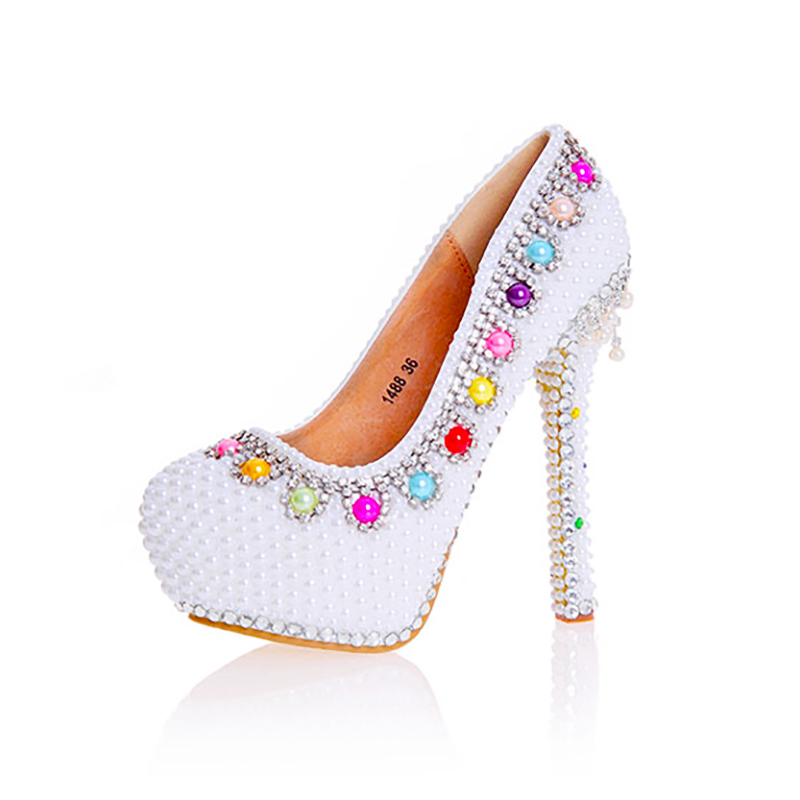 Womens Wedding Pearl Shoes Colorful Pearl Decor Pumps Round Toe Sexy Bride  Tassel High Heels Female b2d7dce17e82