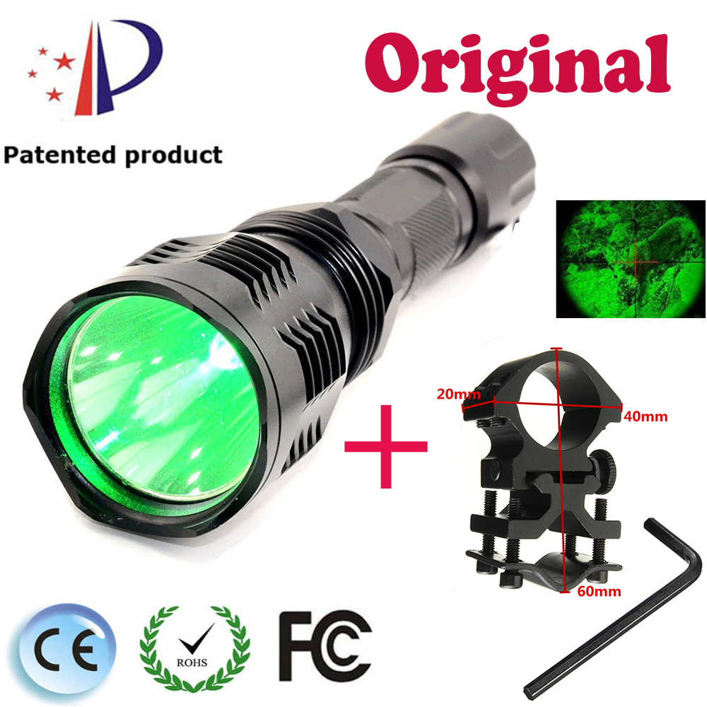 UniqueFire Coyote Hunting Flashlight 1 Mode UF HS802 XPE Green Light LED Potable Flashlight +25mm Ring Diameter Mount