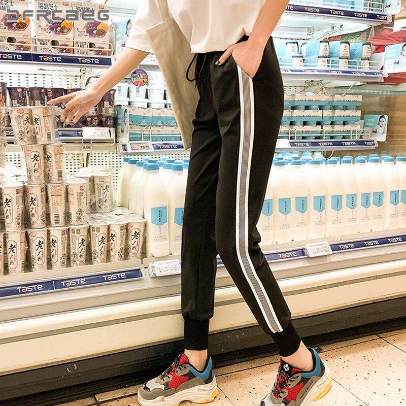 S-5XL Plus Size Ankle-Length Jogger Haren   Pants   Spring Autumn Side Striped   Capri   Trousers Female Casual Streetwear Sweatpants