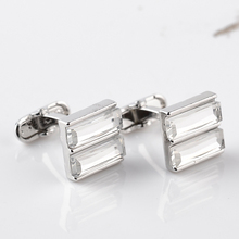 цена на New Wholesale Silver Plated Cufflinks Clear Crystal Stone Cufflink For Men Simple Luxurious Design Wedding Business Cuff Buttons
