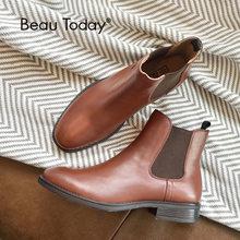 BeauToday 첼시 부츠 여성 정품 송아지 가죽 가죽 플러스 사이즈 가을 겨울 패션 브랜드 발목 신발 수제 03025