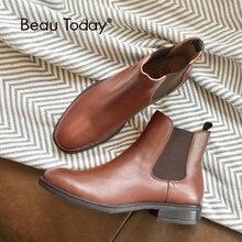 Beau Genuine Leather Chelsea Boots Women Fashion Square Toe Elastic Band Ankle Calf Shoes 03025