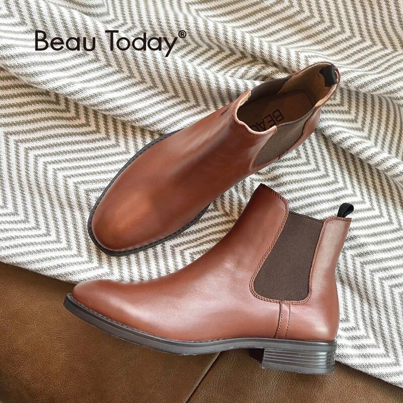 Beautoday chelsea botas marca feminina genuíno couro de bezerro mais tamanho outono inverno tornozelo bota sapatos de moda artesanal 03025