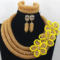Gold African Wedding Nigerian Beads Jewelry Set Yellow Flower Crystal Brooch Beads Women Party Jewelry Set Free Shipping QW505