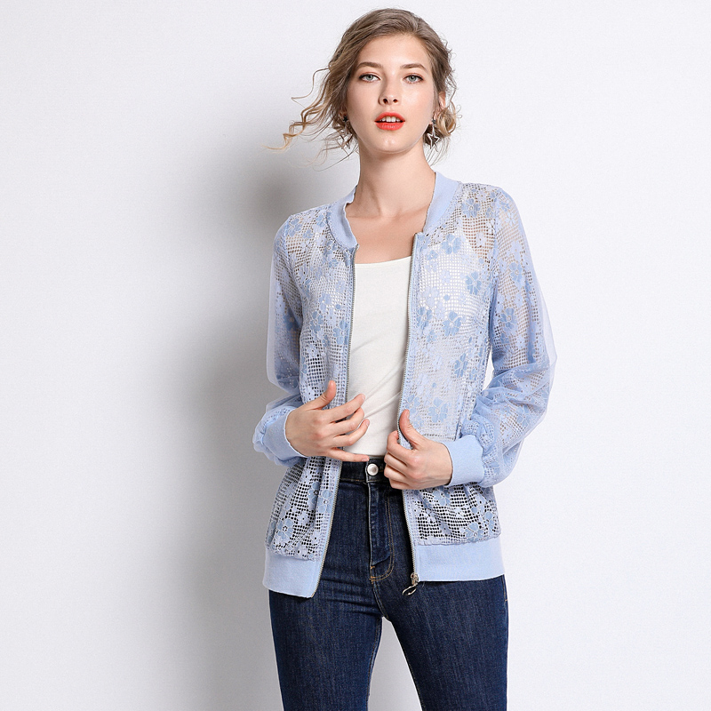 Plus Size Blue Transparent Hollow Out Lace Long Sleeve Coats Women Casual Fashion Street Jackets Outerwear Spring Lady Clothing