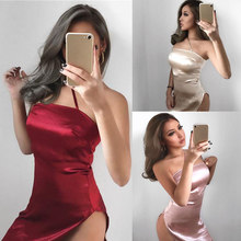 Newly Sexy Women Sleeveless Backless Strap Dress Casual Wrap Bodycon Satin Slip Short Mini Dresses(China)