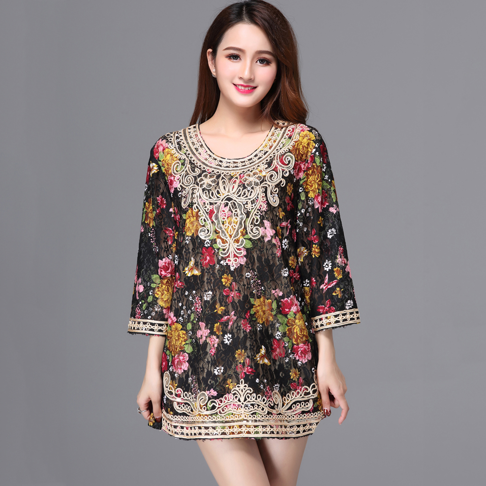 Detail Feedback Questions about Summer 2018 Black Floral Print Lace Shirt  Female Big Size 3 4 Sleeve Loose Long Embellished Cord Sequin Shirt Blouse  Tops on ... dde23f8ccb12