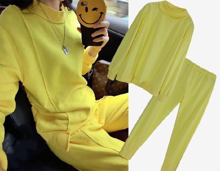 Ninguno Suéter Yellow Pantalones Cuello Sets Completo Ocasional De Nuevo Primavera 2 Tracksuits Alto Real Moda Elástica 2018 Algodón Traje Amarillo Cintura qfROOtIP