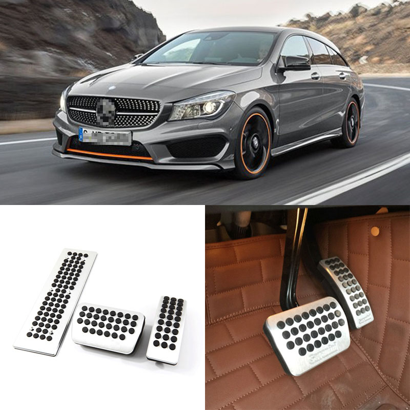 Brand New 3pcs Aluminium Non Slip Foot Rest Fuel Gas Brake Pedal Cover For Benz CLA AT 2013-2016 brand new 3pcs aluminium non slip foot rest fuel gas brake pedal cover for ford focus at 2008 2017