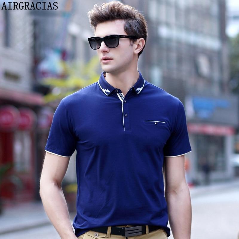 AIRGRACIAS Camisas de Polo de los hombres Slim Fit Color Sólido - Ropa de hombre - foto 1