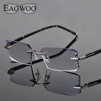Metal Alloy Eyeglasses Men Rimless Prescription Reading Myopia Color MR 8 Crystal Glasses Big Wide Frameless Spectacle 258003