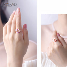 Romad Zircon Crystal Leaf Shell Flower Ring For Women Ladies Girls Adjustable Pearl Finger Ring Jewelry
