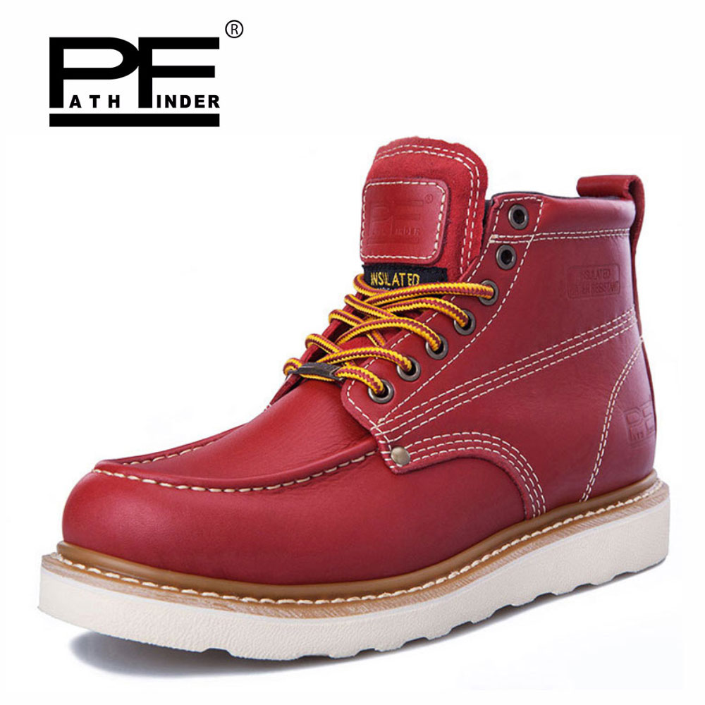 Pathfinder Waterproof Men's Ankle Boots Spring Martin for Man Fashion Botas Mens Shoes Western Motorcycle
