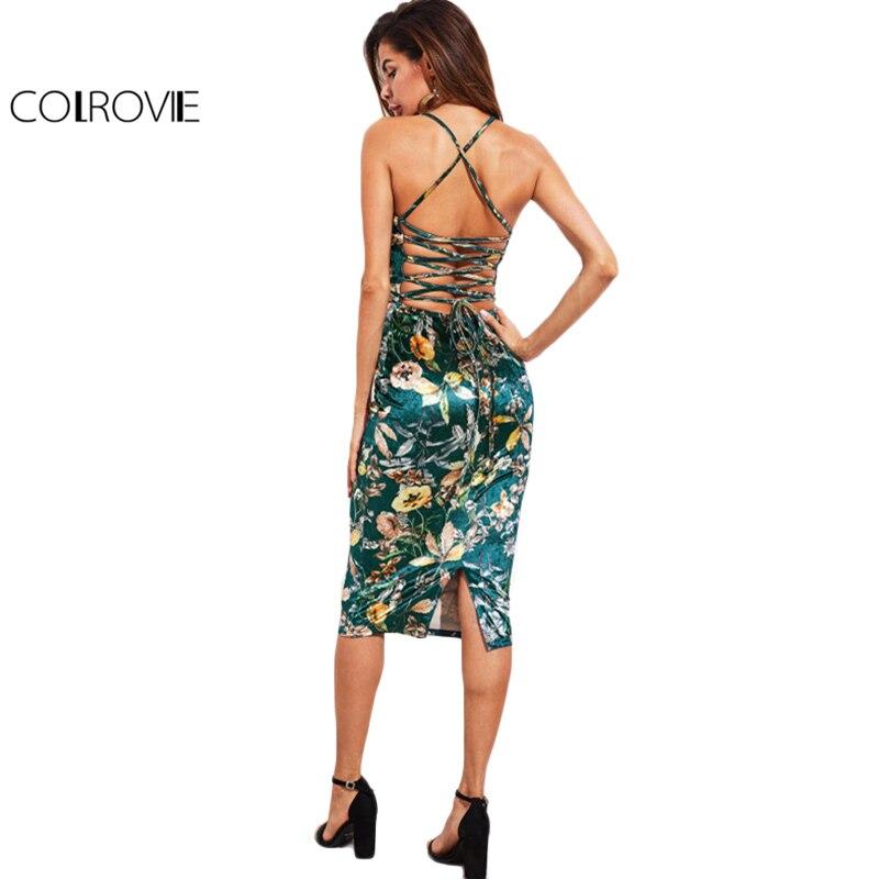 COLROVIE à lacets dos Floral velours robe botanique femmes Sexy Cami Midi robes d'été vert élégant moulante robe de soirée