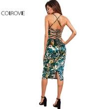COLROVIE Lace Up Back Floral Velvet Dress 2017 Botanical Women Sexy Cami Midi Summer Dresses Green Elegant Bodycon Party Dress