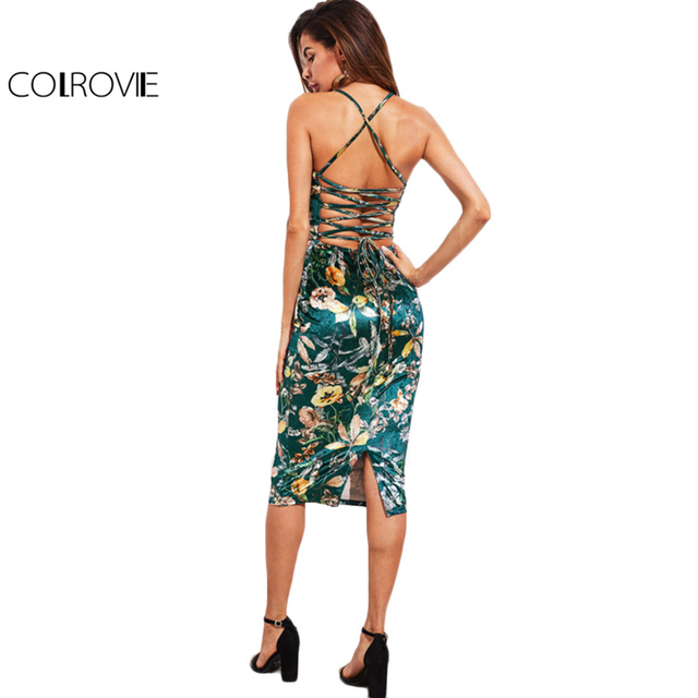 bb10e9b156c COLROVIE Lace Up Back Floral Velvet Dress Botanical Women Sexy Cami Midi  Summer Dresses Green Elegant