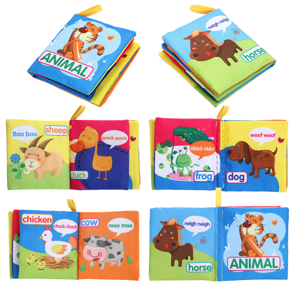 Baby Kids Child Early Educational Cartoon Cloth Book Toys Soft Fruit English Cloth Book Baby Infant Toy Anti-tear