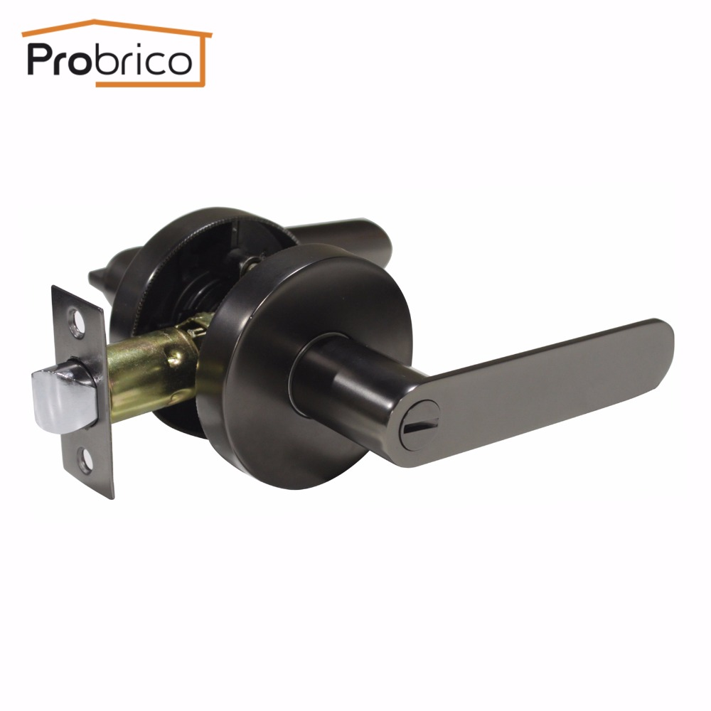 Probrico Stainless Steel Privacy Interior Door Lever Door Lock Set Cold Grey Bathroom Door Handle Bedroom Door Knob DL03CG europe standard 304 stainless steel interior door lock small 50size bedroom big 50size anti shelf strength handle lock
