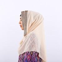 As Mulheres muçulmanas Hijab Seda Cap Cabeça Chapéu Desgaste Islâmico Muçulmano cobertura Completa da Cor Sólida Feminino Lenços estilo Étnico Hijab Ninja