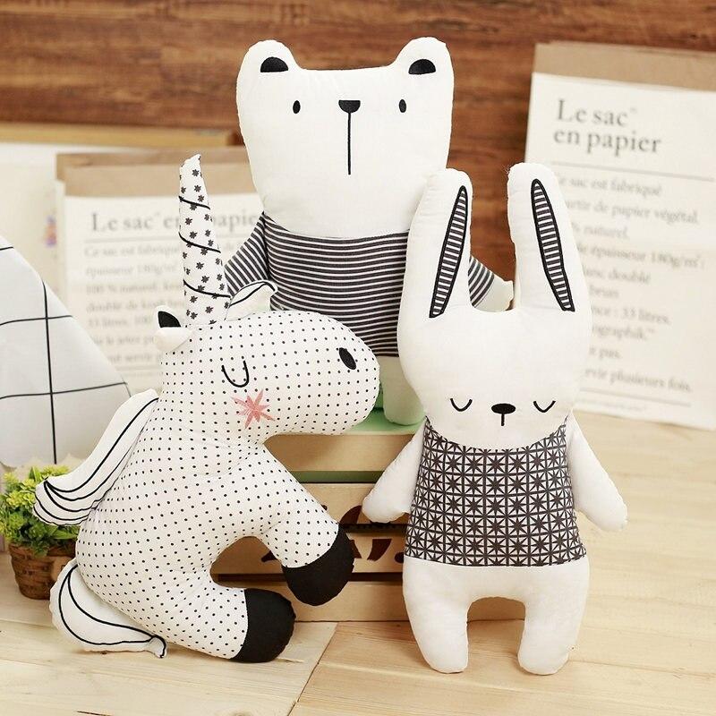stuffed animal toy Nordic Toys Kawaii stitch baby Stuffed Plush Pillow Stuffing Bear Rabbit Unicorn Cushion Cute horses