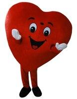 Лидер продаж красное сердце для взрослых Маскоты костюм нарядное платье