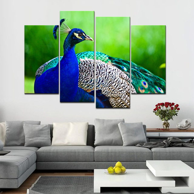 4 Pcs/Set Beautiful Blue Peacock Wall Art Painting Modern Animal Canvas  Print Wall Picture
