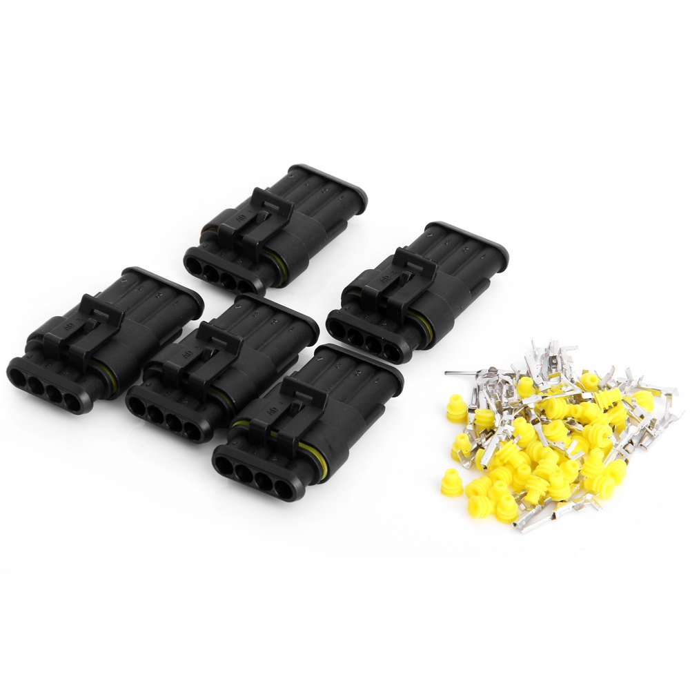 Jhia71 5 Sets Kit 4 Pin Way Car Electrical Wire Connector Waterproof Automotive Wiring Harnesses Motorcycles In Cables Adapters Sockets From