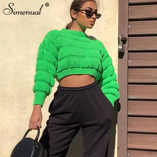 Simenual Knitwear 2019 Autumn Pullover Sweater Long Sleeve Women Solid Basic Jumpers Fashion Casual Slim Cropped Winter Sweaters