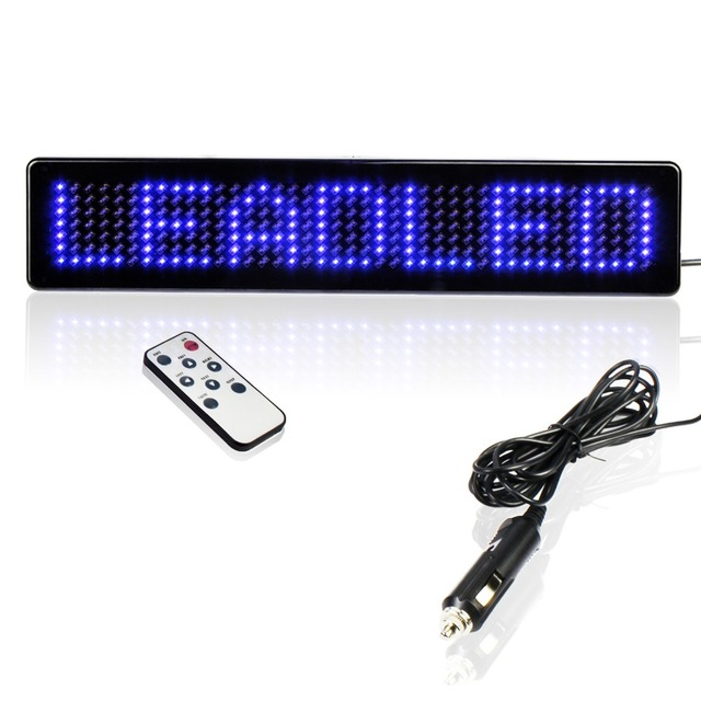 Remote Control Programmable Scrolling LED Car Display Moving message Sign Board For Car Rear Window(Blue Color)