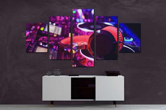 5pcs,diamond Painting Art Music Dance Hall Modern The DJ Night Bar Wall Decor,diy Full Round Diamond Embroidery Mosaic Crafts