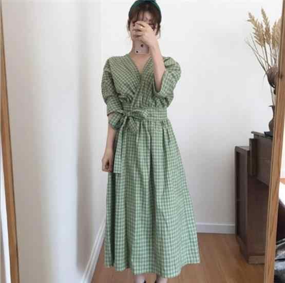Хлопковое льняное с короткими рукавами летнее платье модное клетчатое с v-образным вырезом прерия шик INS платье для девочек корейский дизайн женское Повседневное платье LJ645