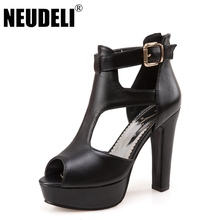 NEUDELI 2017 New 34-43 Summer Women pumps Fashion sexy platforms 12cm high heels shoes Euro style woman shoes