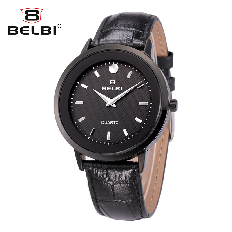 BELBI Mens Leather Watches Simple Nail Dial Design Quartz Battery Wrist Watch Male Clock Brand Gift Black Gold Silver Wristwatch hand made mens wooden bamboo quartz watch black genuine leather watchband simple unique modern wristwatch gift for male female