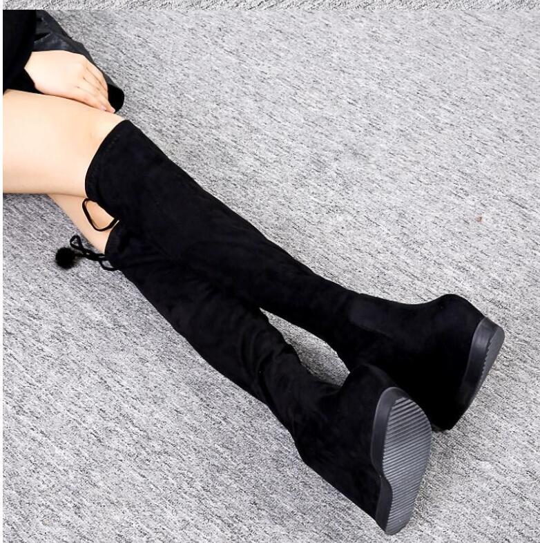 Chaussures Épais Était Poêle Mince Le Fond La Noir forme Bottes Coréenne De Version Genou Plate Tuyau Stretch Sur qPwUgB