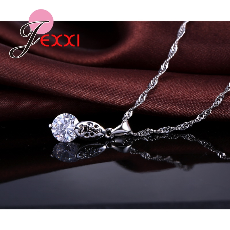 Jemmin Wholesale Fashion Set Shinning CZ Jewelry Sets 925 Sterling Silver Pendant Necklace And Earrings Set For Women