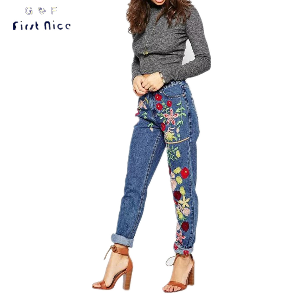 Women Jeans 2016 New Autumn Winter Handmade Flower Embroidery Pencil Pants Zipper Fly European Style Full Length Denim Trousers brand new autumn winter flower women