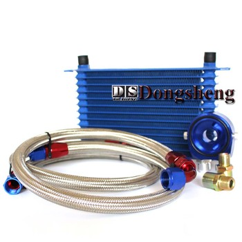 UNIVERSAL 13 ROWS OIL COOLER+OIL FILTER SANDWICH ADAPTER BLUE + SS NYLON STAINLESS STEEL BRAIDED AN10 HOSE