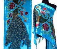 Novelty Blue Female 100 Silk Velvet Cape Embroidery Beaded Pashmina Stole Chinese Style Muffler Dropshipping 176