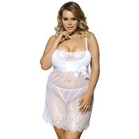 J70225 White lace ropa sexy see through hot sale sexy women nightwear plus size babydoll ladies sexy lingerie dress