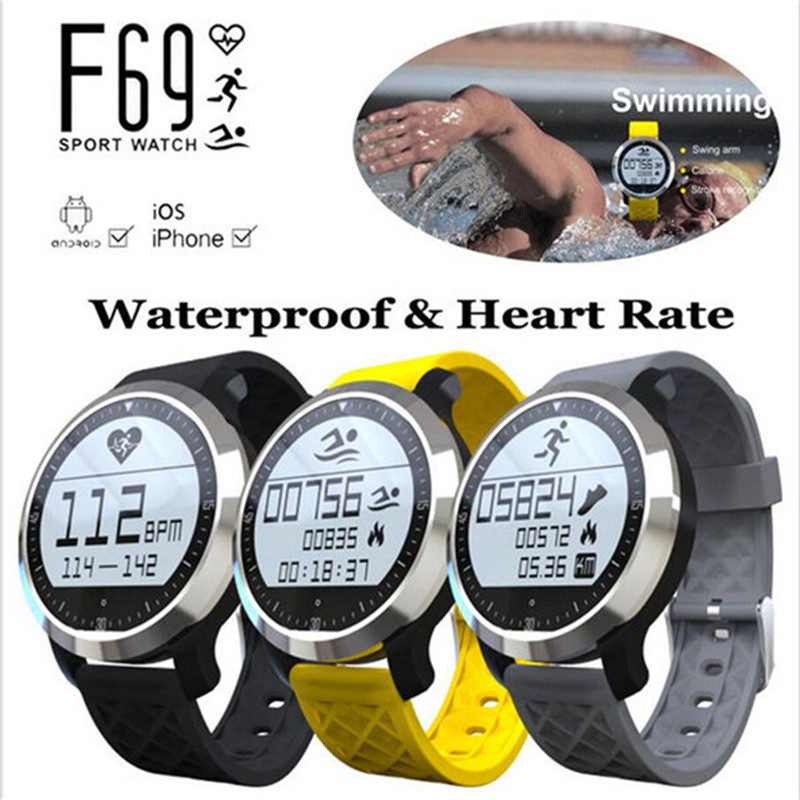 Fashion Intelligent F69 Bluetooth V4 0 Smart SportWatch Waterproof Healthy Heart Rate Wristband Running Bracelet For