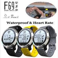Мода интеллектуальные F69 Bluetooth V4.0 Smart SportWatch Водонепроницаемый здоровый Heart Rate браслет Запуск браслет для IOS Android