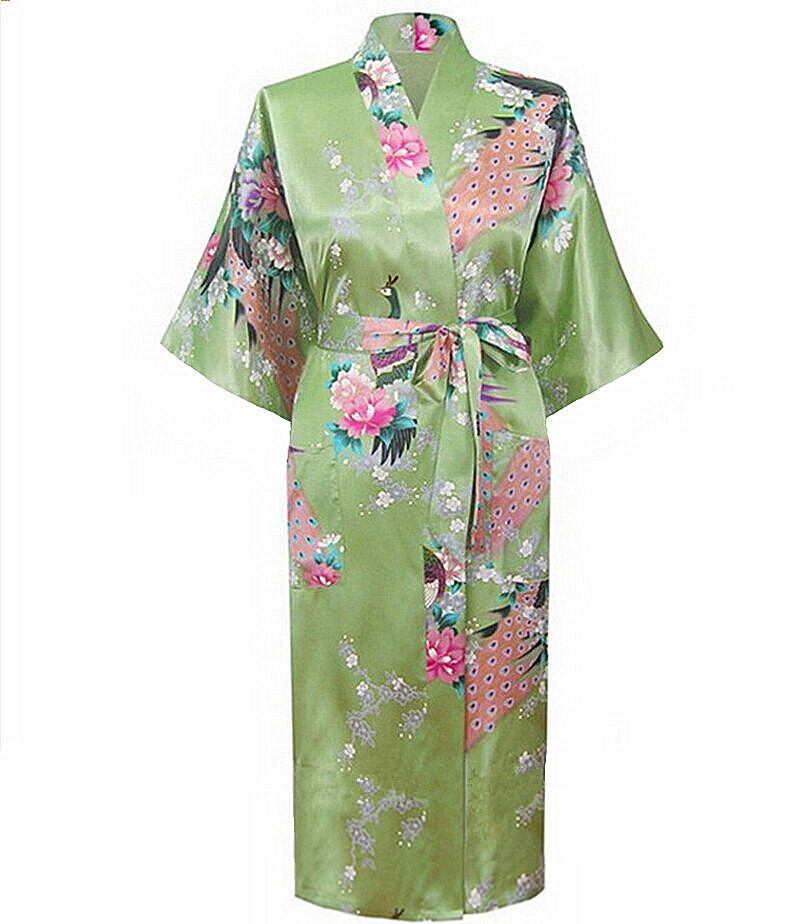 Brand New Green Long Robe Satin Rayon Bathrobe Nightgown For Women Kimono Sleepwear Flower Plus Size S M L XL XXL XXXL A-112