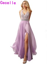 New Sexy Lilac A-line Chiffon Formal Evening Dress V-neck Lace Long Floor Length Prom Evening Gowns For Teens Girls Custom Made