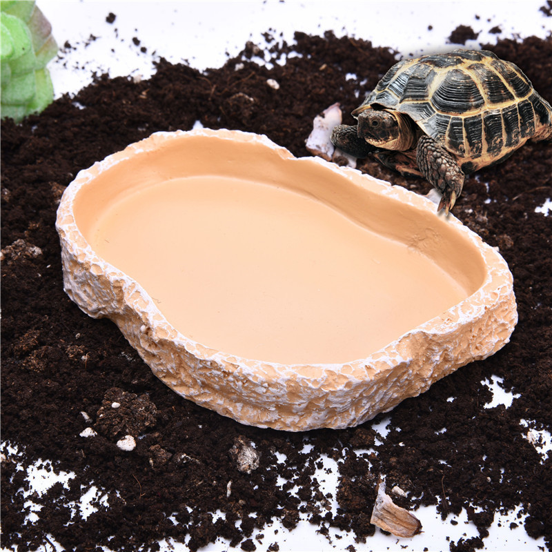 1pcs 12*7*2.5cm Resin Tortoise Bowl Basin No Poison Reptiles Feeding Supplies Food Container Feeder Dish For Tortoise Reptiles