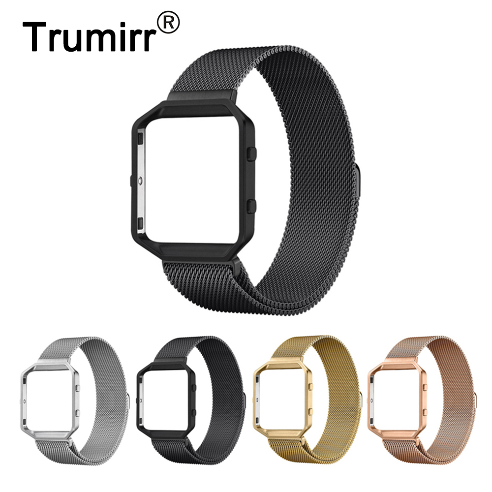 23mm Milanese Loop Band + Metal Frame for Fitbit Blaze Smart Fitness Watch Strap Stainless Steel Magnetic Closure Link Bracelet carlywet 23mm black 316l stainless steel replacement watch strap belt bracelet with case metal frame for fitbit blaze 23 watch